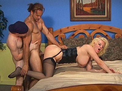 Kayla Quinn was more than ready for some action and she even paid close attention to what she wore. Her sexy corset and stockings made these bisexual hunks crazy as they try to fill her holes. They then made sure to fuck each other in the ass after.video
